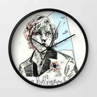 les mis Wall Clocks featuring Enjolras Les Mis Poster by Pruoviare
