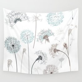 Hand drawn vector dandelions in rustic style Wall Tapestry