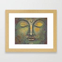 Rusty Golden Buddha Face - Zen and Balance Watercolor Painting Framed Art Print