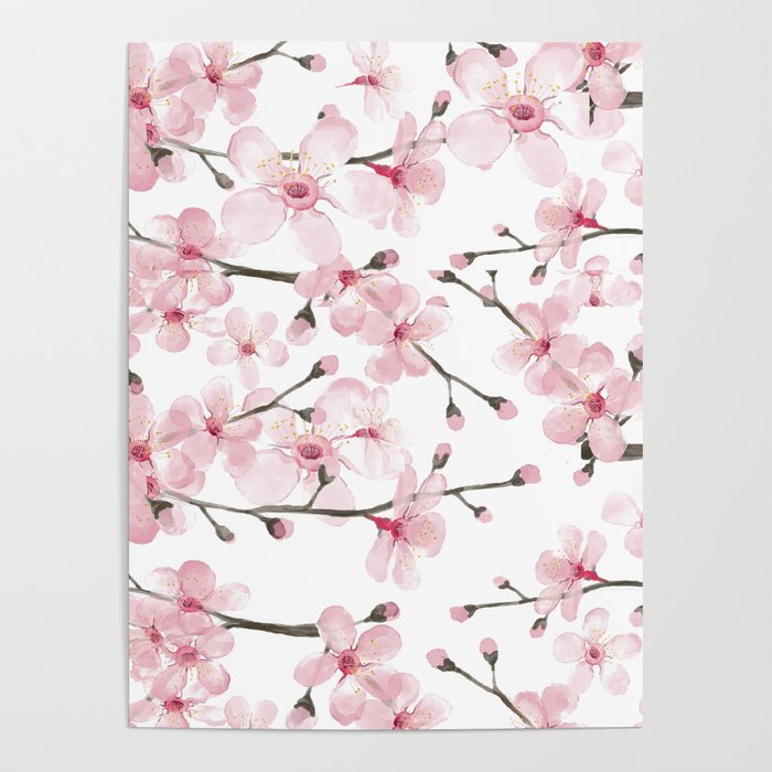 watercolor cherry blossom poster by magentarose