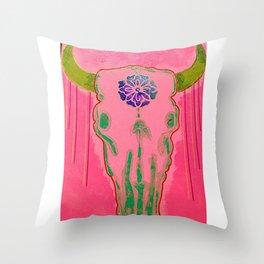 Neon Steer Skull Throw Pillow