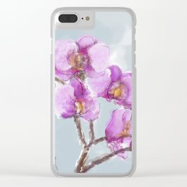 Watercolor Orchids Clear iPhone Case