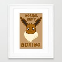 eevee Framed Art Prints featuring normal eevee by deerboywonder