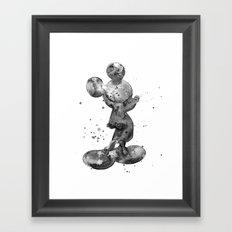 Mickey Mouse, black & white Framed Art Print