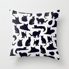 Grumpy Cats - Dark Navy Palette Throw Pillow