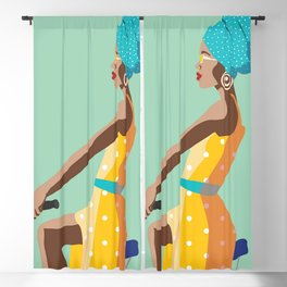 African girl travel poster Blackout Curtain