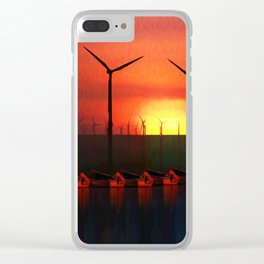 Boats at Sunset (Digital Art) Clear iPhone Case