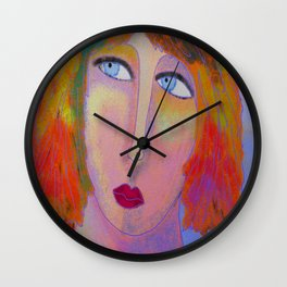 Fire and Ice Abstract Digital Portrait of a Woman Wall Clock