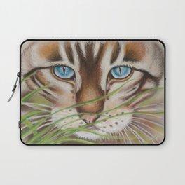 Brown Tabby Cute Cat Kitten Grass Laptop Sleeve