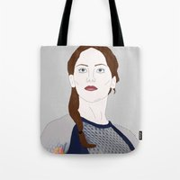katniss Tote Bags featuring Katniss Everdeen by raeuberstochter