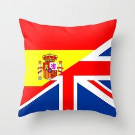 half united kingdom great britain half spain flag british spanish language dictionary  Throw Pillow