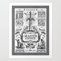 Legend of Zelda Vintage Master Sword Advertisement Art Print