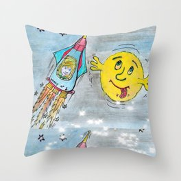 Harry and the Bedship: A Trip to Mars Throw Pillow