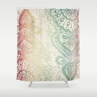 friday Shower Curtains featuring Friday Afternoon by Jenndalyn