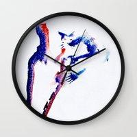 girl power Wall Clocks featuring girl power  by Gréta Thórsdóttir