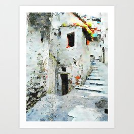 Glimpse with staircase Art Print