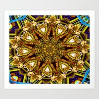 Lovely Healing Mandalas in Brilliant Colors: Gold, red, blue, black, light blue Art Print