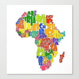 African Continent Cloud Map Canvas Print