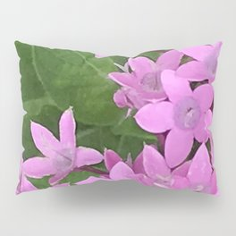 Little Pink Pixie Flowers With Lush Leaves Pillow Sham
