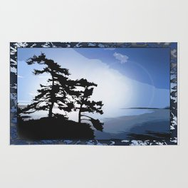 TWO WINDSWEPT DOUGLAS FIR ON THE SHORELINE Rug
