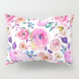 Elegant modern pink lilac orange watercolor floral Pillow Sham