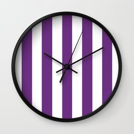 Eminence violet - solid color - white vertical lines pattern Wall Clock