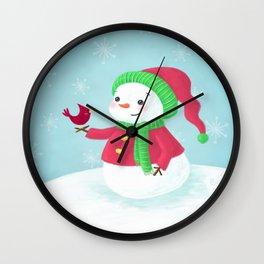 Snowman with Cardinal Wall Clock