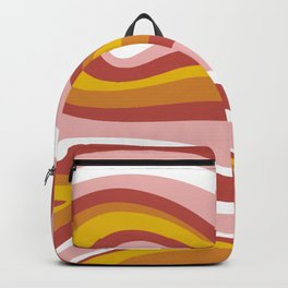 Retro, Midcentury Modern, Geometric Art, Pink and Yellow Backpack