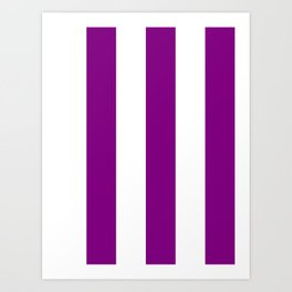 Wide Vertical Stripes - White and Purple Violet Art Print