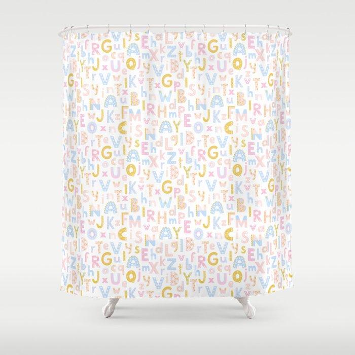 Cute Alphabet Shower Curtain by innaadamenya | Society6