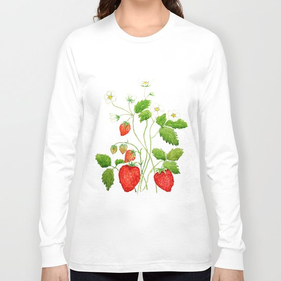 strawberry and strawberry flowers watercolor painting Long Sleeve T-shirt
