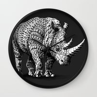 bioworkz Wall Clocks featuring Rhinoceros by BIOWORKZ