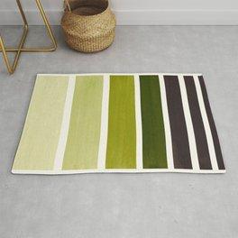 Olive Green Minimalist Watercolor Mid Century Staggered Stripes Rothko Color Block Geometric Art Rug