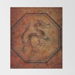 Distressed Chinese Dragon In Octagon Frame Throw Blanket