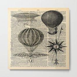 newspaper print victorian steampunk airship plane hot air balloon Metal Print