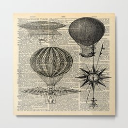 newspaper print victorian steampunk airship plane hot air balloon Metal Print