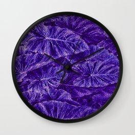 Purple Tropical Layered Leaves Wall Clock