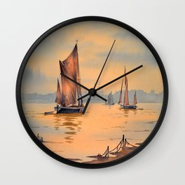 Barges On The River Thames Greenwich London Wall Clock