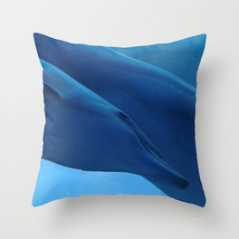 Little dolphin with his mother Throw Pillow