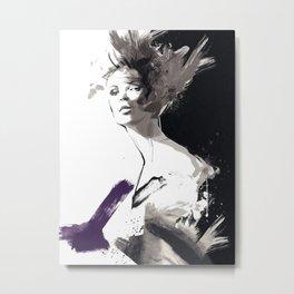 Fashion Painting, Fashion IIlustration, Vogue Portrait, Fashion Beauty, Black and White colours, #10 Metal Print