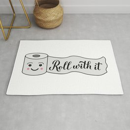 Roll with it calligraphy hand lettering on cute cartoon toilet paper. Funny quote Rug