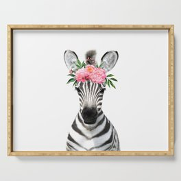 Baby Zebra with Flower Crown Serving Tray