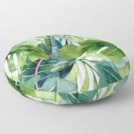 Tropical Jungle Leaves Floor Pillow