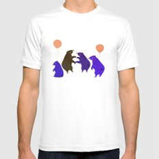 A sleepy bear party Mens Fitted Tee White MEDIUM