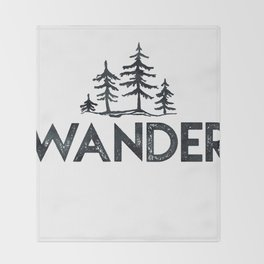 WANDER Forest Trees Black and White Throw Blanket