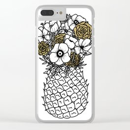 Pineapple Bouquet Gold Clear iPhone Case