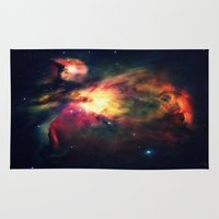 nebula Area & Throw Rugs featuring Orion NEbula Dark & Colorful by 2sweet4words Designs