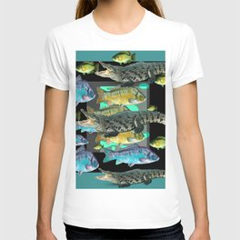 FISH DINNER & HUNGRY ALLIGATORS BLUE ART T-shirt