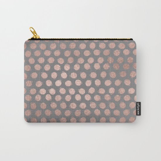 Handpainted Rosegold polkadots on grey background Carry-All Pouch