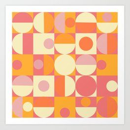 Thoroughly Modern Pink And Orange Geometric Design Art Print